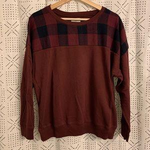 Old Navy Maroon Plaid Sweatshirt